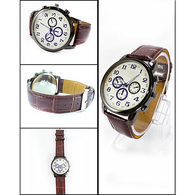 Leather Strap Analog Watch for Men