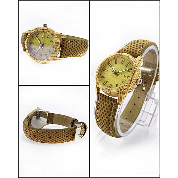 Brown Leather Strap Watch For Women