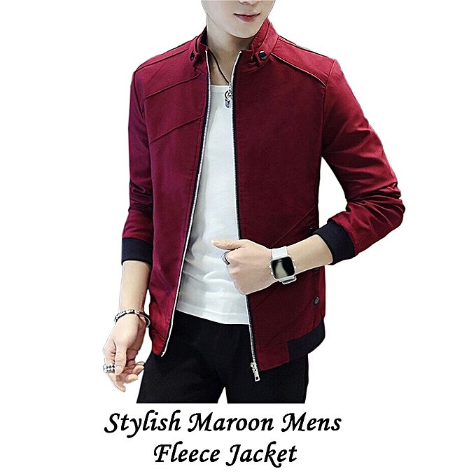 Stylish Maroon Fleece Jacket For Men