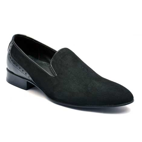 suede leather loafer Jd-012 Black -Handmade customizes men leather shoes