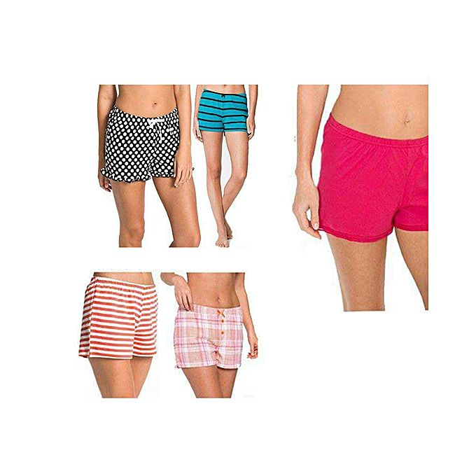 Pack Of 5 - Multicolor Cotton Shorts For Women