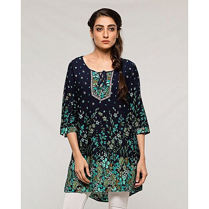 Navy Blue Printed Lawn Kurti For Women