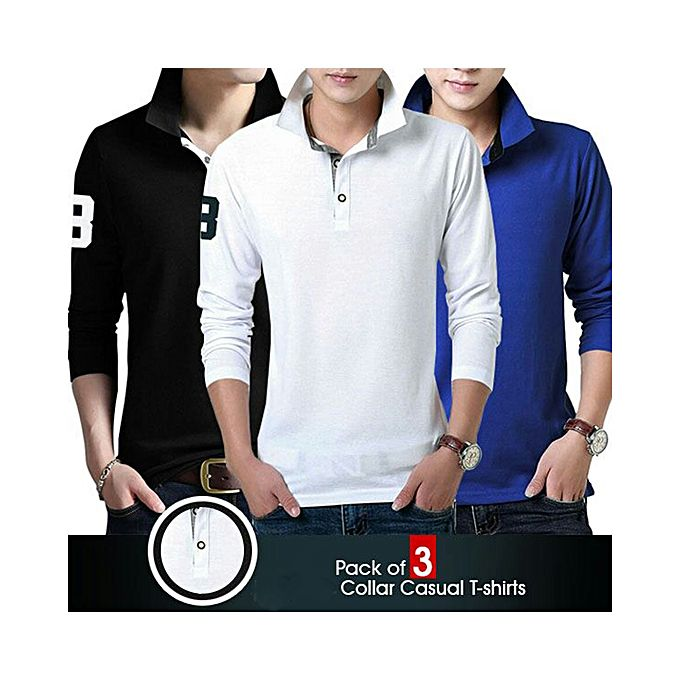 Aybeez Pack Of 3 Collar Long Sleeves T-Shirts For Men