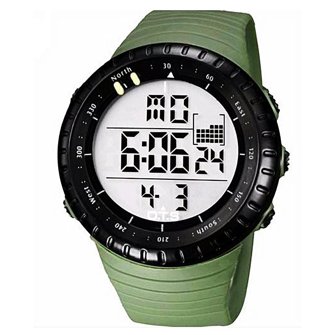 Green Rubber Strap Digital Watch