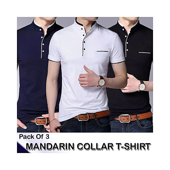 Aybeez Pack of 3 Mandarin Collar T-shirts For Men