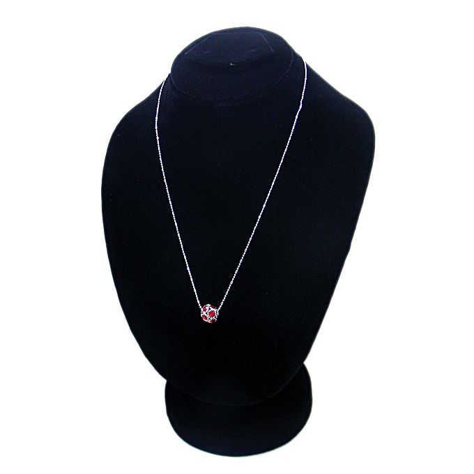 Silver Metal Chain with Center Red Ball Pendant for Girls - Silver