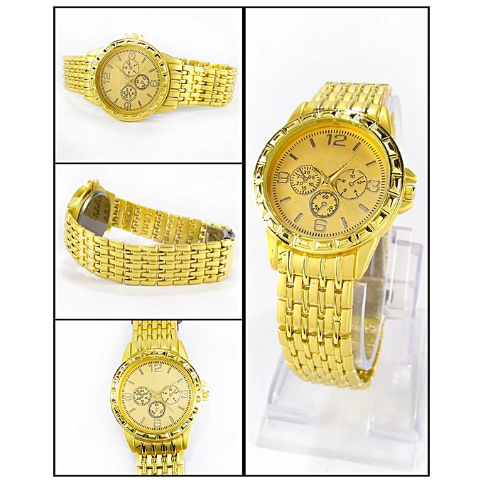 Golden Stainless Steel Watch For Men