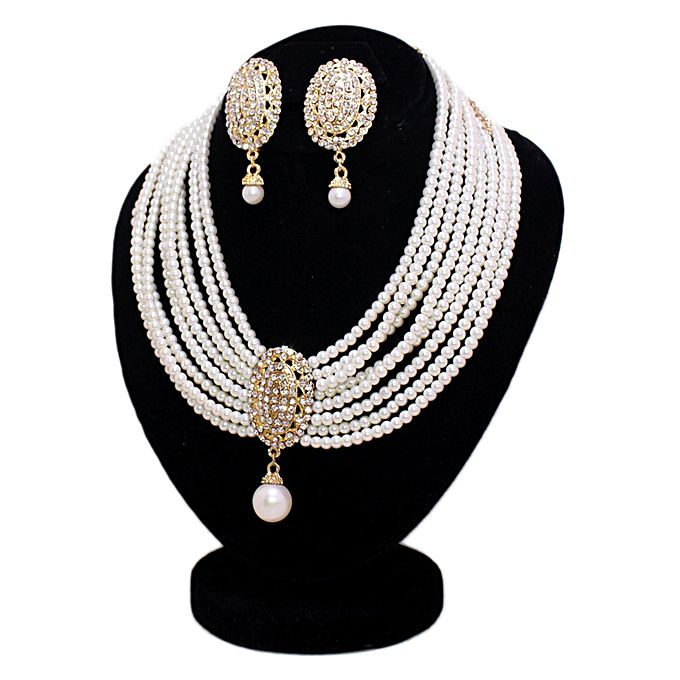 Kureshi Collections Off White Jewelry Set with Center Golden Stone