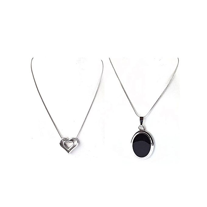 Kureshi Collections Pack of 2 - Silver Metal Round Black Stone & Heart Shape Pendants