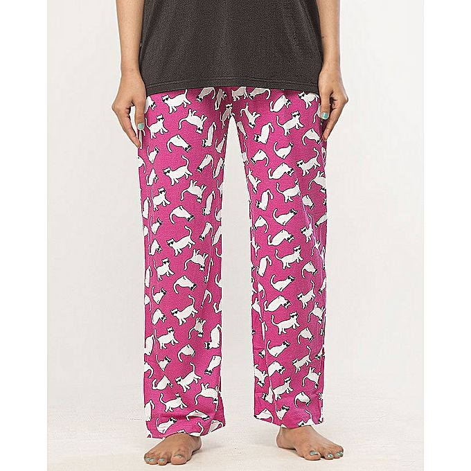 Cat Printed Pajama For Women