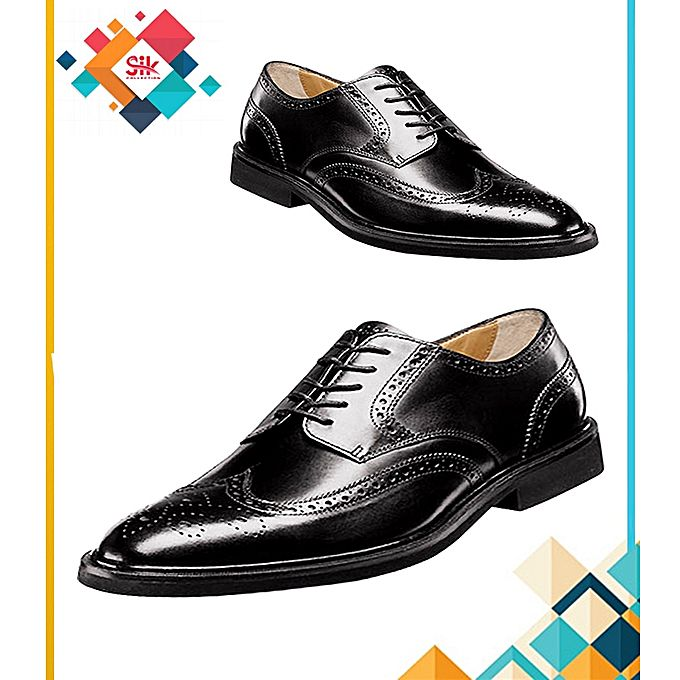 SIK Collection Black Italian Stylish Lace-Ups Embroidery Designs Formal Shoes For Men