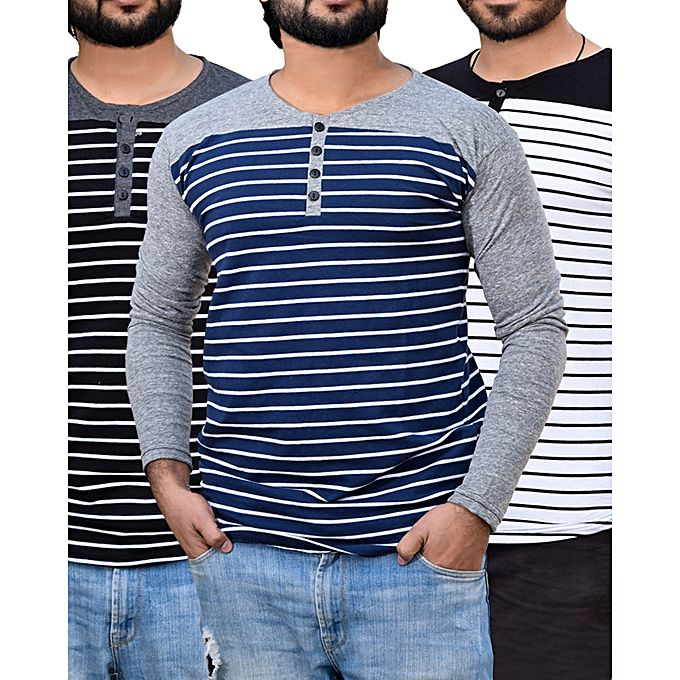 Aybeez Pack Of 3 - Round Neck Button Strip Lining T-Shirts For Men