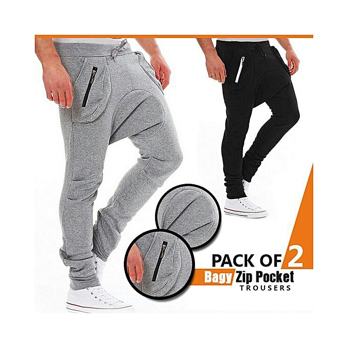 Pack Of 2 Baggy Zip Pockets Trousers For Men