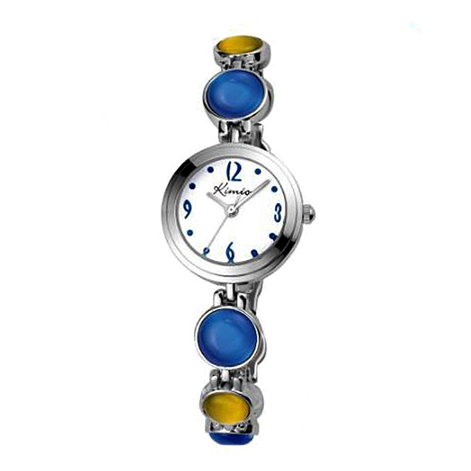 Kureshi Collections Blue & Yellow Beads Watch for Women - Metal