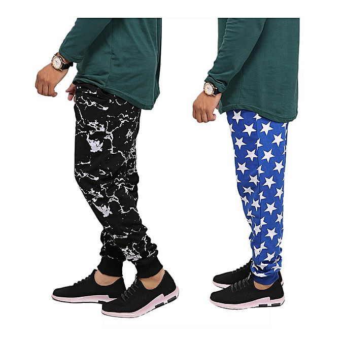 Pack Of 2 Star & Texture Jogger Trousers For Men