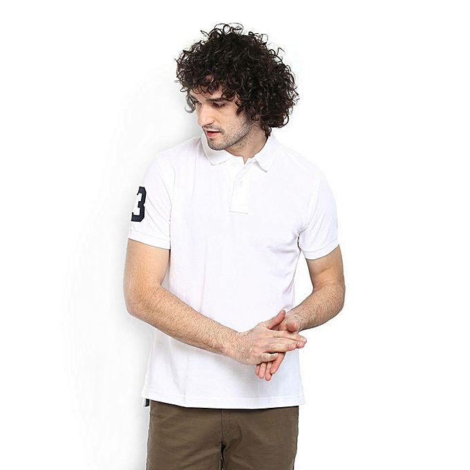 Aybeez White Polo T-shirt For Men