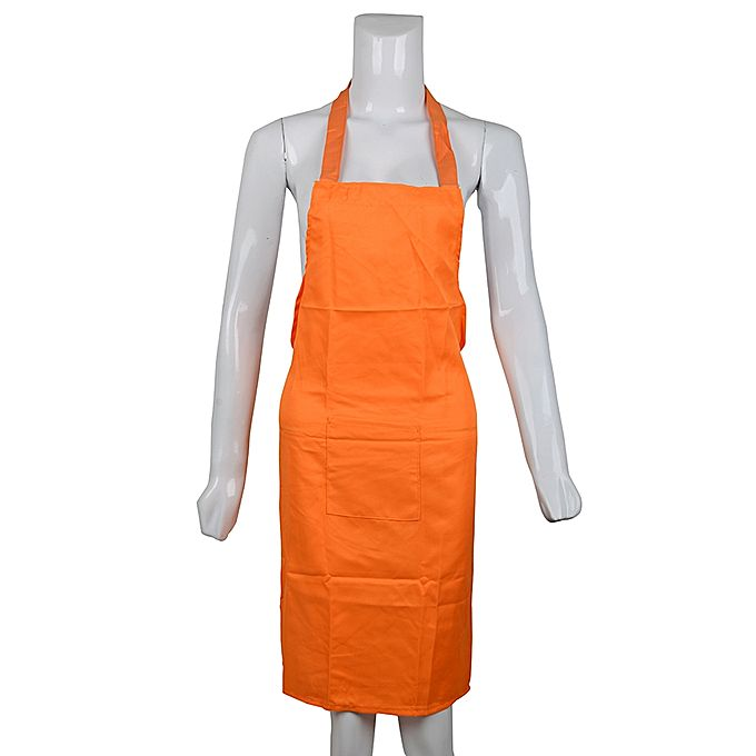 Beautiful Lady Plain Cotton Apron - Orange