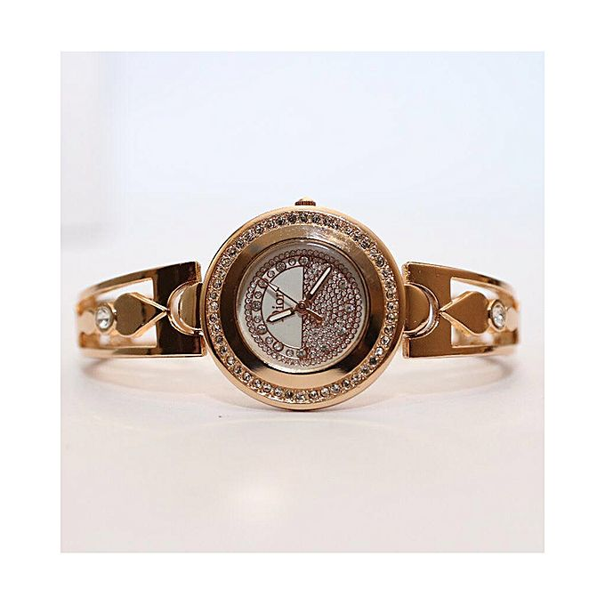 Golden Stylish Stainless Steel Watch For Women