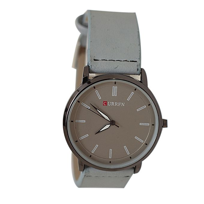 Curren KC Grey Leather Strap Analog Watch for Men