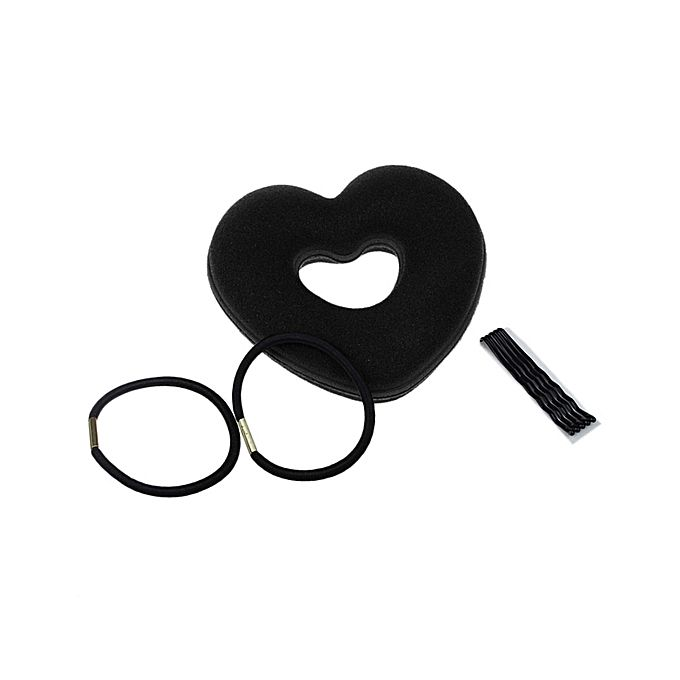 Pack of 3 Hair Styling Tools - Heart Shape Foam , Pins and Rubber Band - Black