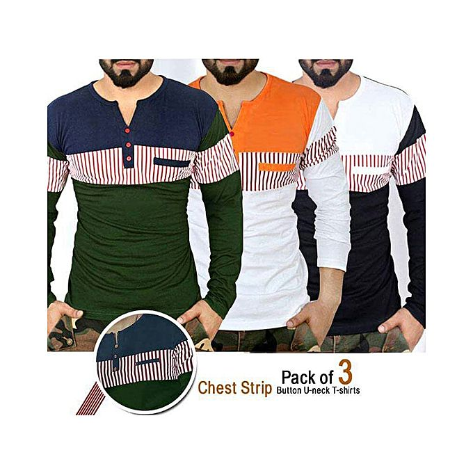 Pack OF 3 – Chest Strip Button V-Neck T-Shirt For Men