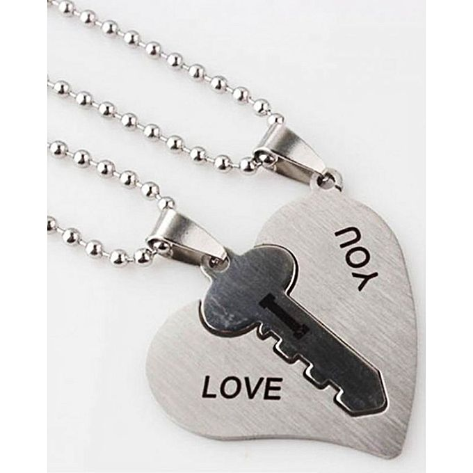 Kureshi Collections Stainless Steel Heart Key Pendant - Silver