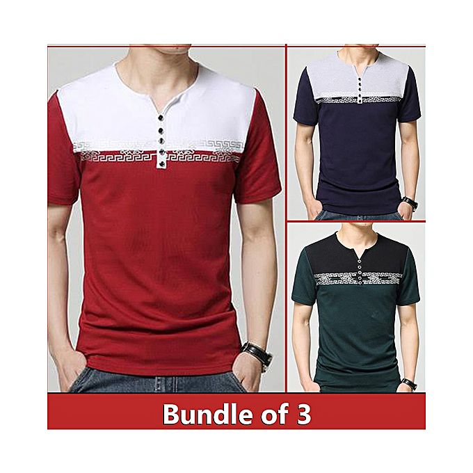 Aybeez Pack Of 3 Button Strip Half Sleeves T-Shirts For Men