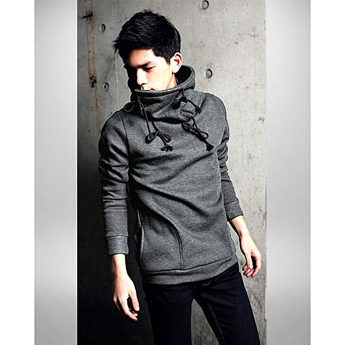 Aybeez Steel Grey Turtle Neck Plain Hoodie For Men - ABZ-2330 S