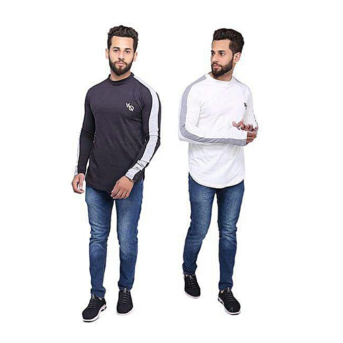 Pack of 2 Round Neck Full Sleeves With Front Logo For Men