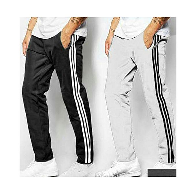 Pack Of 2 White And Black Trousers For Men