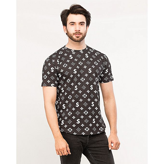 Black Printed Round Neck T-shirt For Men