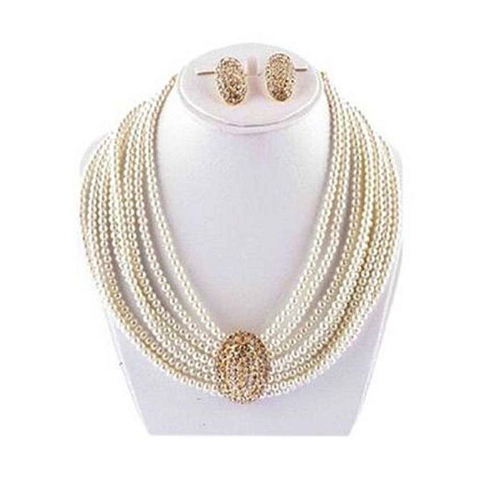Off White Jewelry Set with Center Golden Stone for Women