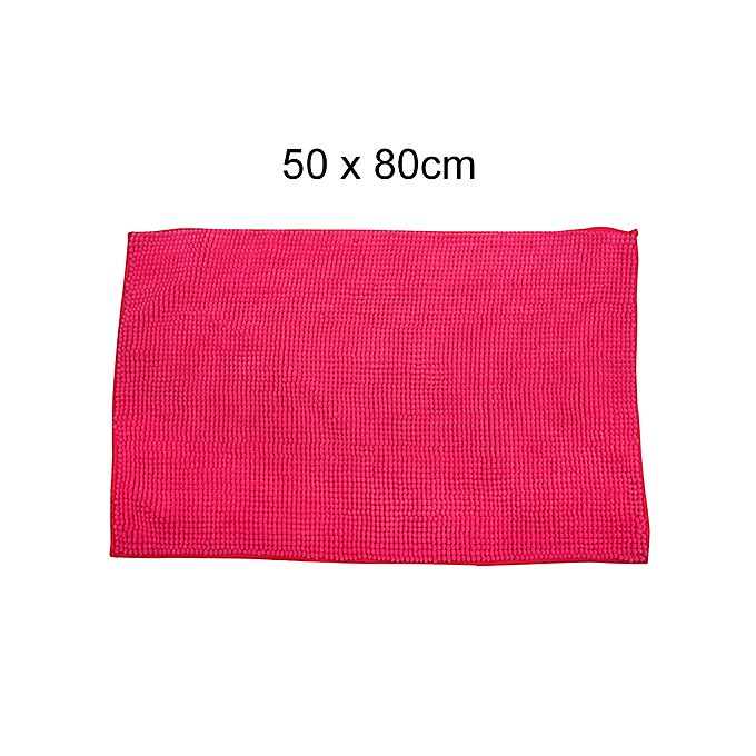 Shaggy Door Mat With Out Rubber Backing Deep Pink - 50 X 80 cm