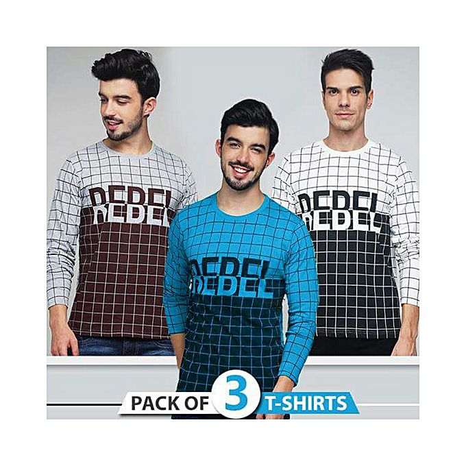 Pack of 3 Rebel T-shirts For Men