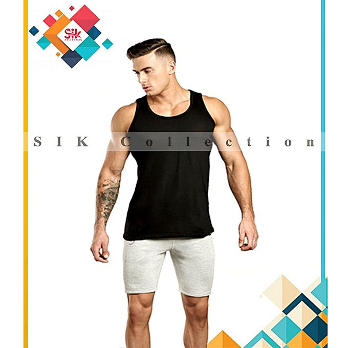 SIK Collection Pack of 1- Vest Black Cotton Imported Sleeveless For Men