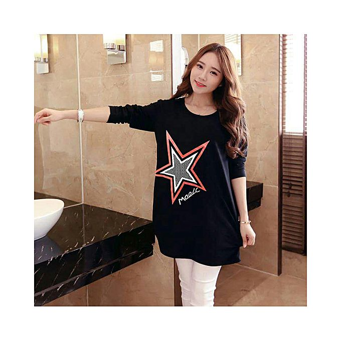 Black Star Printed T-shirt Women