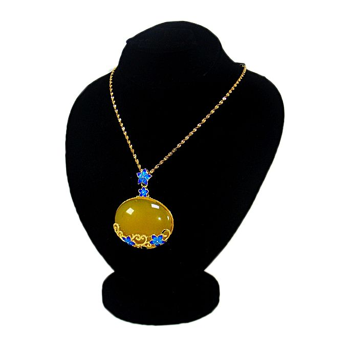Kureshi Collections Oval Yellow Pendant with Golden Chain for Women - Yellow