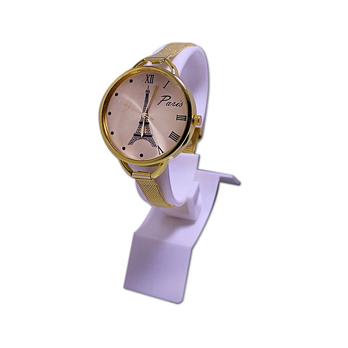 Kureshi Collections Eiffel Tower Golden Slim Chain Watch for Women - Golden