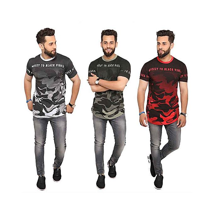Pack Of 3 Camouflage Style T-Shirts For Men