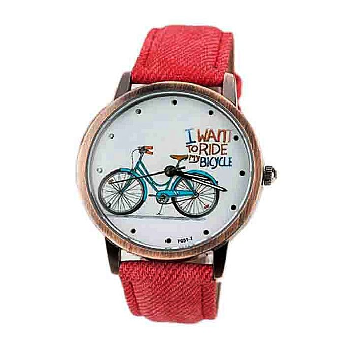 Kureshi Collections Red Denim Strap Bicycle Watch for Women