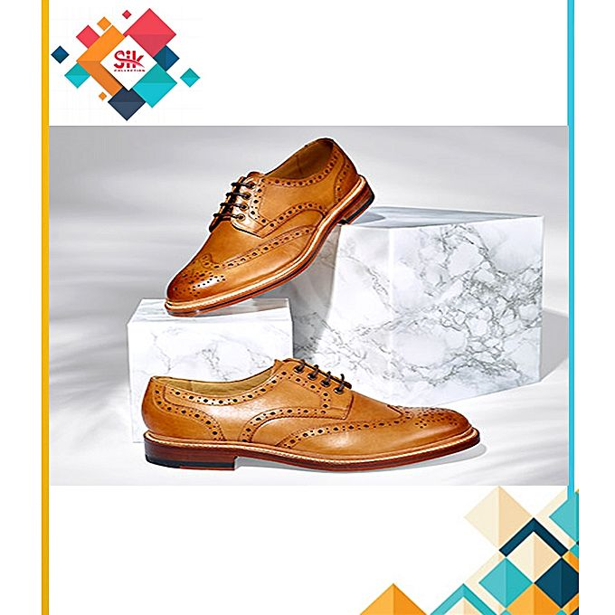 SIK Collection Mustard Stylish Lace-Ups Embroidery Designs Formal Shoes For Men