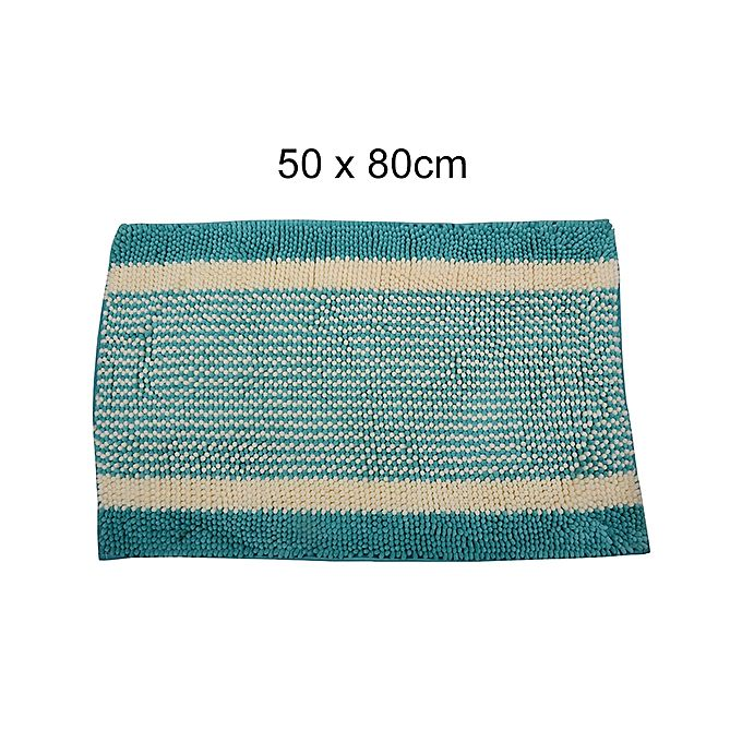 Shaggy Door Mat With Out Rubber Backing White & Sea Green - 50 X 80 cm