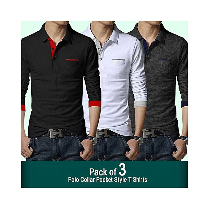 Aybeez Pack Of 3 - Polo Collar Pocket T-Shirt For men