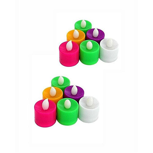 Home Decore Pack of 12-LED Tea Light Candles-Multicolor