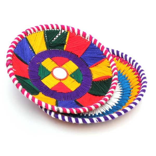 Pack Of 2 Changair (Chapati Serving Plate) - Sindhi Handicraft (Multi Color)