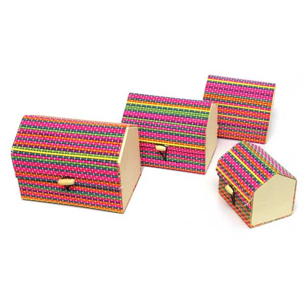 Pack of 4 - Pentagon Shaped Jewelry Box - Multicolor