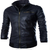 Men's Slim Fit Leather jacket - Black
