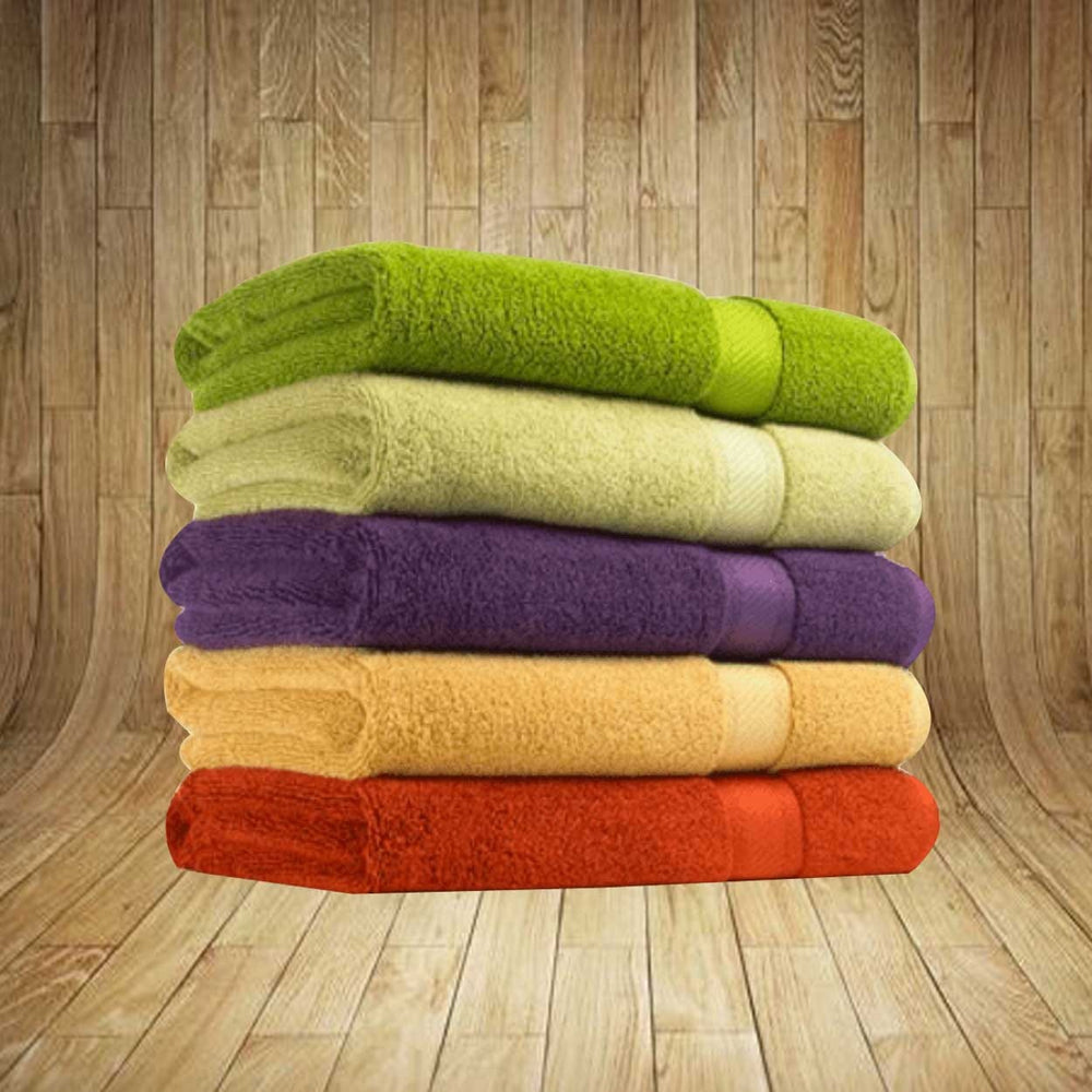 Pack Of 5 - Essential Home 100% Cotton Bath Towels 27 X 54 - Multicolour