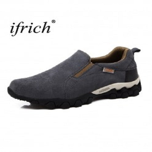 Dark Gray Slip On Hiking Rubber Leather Boots