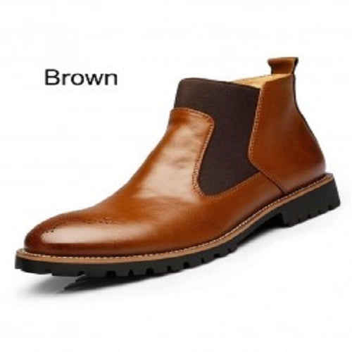 Brown Fashion Chelsea Leather Boots
